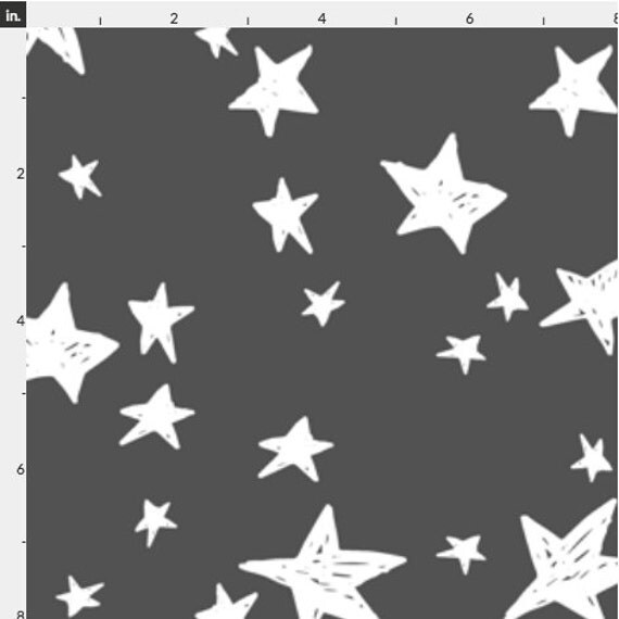 Stars in white and charcoal gray quilting fabric fabric for Moon and stars fleece fabric