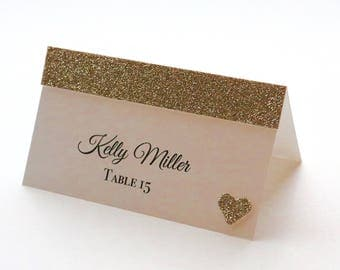 Wedding Place Cards, Glitter Wedding Place Cards, Gold Glitter Place Cards, Champaign Glitter Place Cards, Place Card, Champaign Place Cards