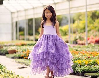 Girls Couture Dress, Princess Dress, Flower Girl Dresses, Hi Low Dress, Girls Maxi Dress, Girls Boho Dress, Shabby Chic, Ruffle Dress