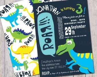 Dinosaur Birthday Invitation, Blue Green Yellow Dinosaur Birthday Party Invite, Dino Birthday Invitation, Boys Birthday Digital Invitation