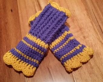 SALE***Crochet wrists warmer, winter accessories. ( purple/yellow)