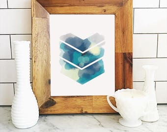 Chevron Watercolor Art Print