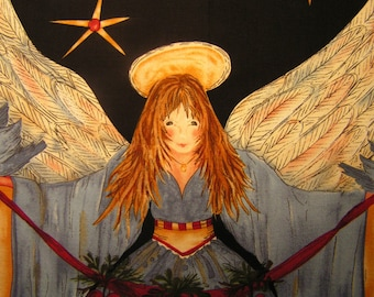 Angels Watching Over Me Cotton Fabric Panel Quilt Wall Hanging Christmas