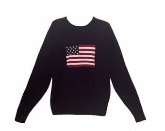 POLO, Ralph Lauren Navy Blue American Flag Colectible Knit Sweater-Size L