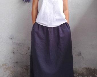 Maxi Linen Skirt / Long Linen Skirts with Pocket in Dark Grey