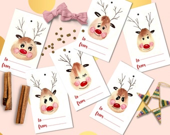 Christmas  gift tags printable, Instant download Christmas tags, Christmas favor tags printable, Christmas label watercolor