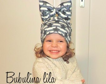 Hat Beanie grey beige with Ribbon girl baby