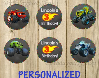 Blaze and the Monster Machines Cupcake Toppers, Monster Machines Birthday Circles, Personalized, Digital File