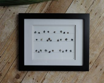 Pebble art birds / Pebble picture / Rock art / Retirement gift idea / Pebble art family / Sea glass picture / Bird lover gift / Nova Scotia
