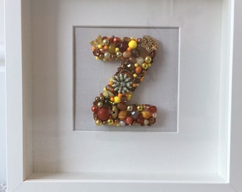 Beaded jewelled canvas initials...handmade gift...One of a kind