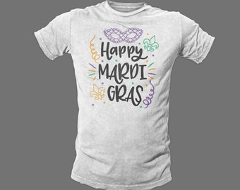 Happy Mardi Gras graphic tee shirt - throw me something mister - beads - bling