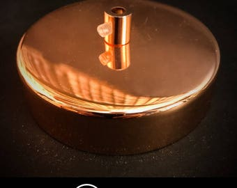 Polished copper ceiling rose with copper cord grips