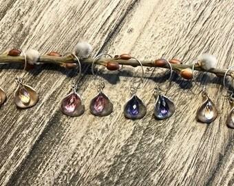 Swarovski crystal, flower petal earrings, silver, bronze, purple