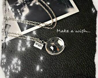 Dandelion necklace, Dandelion seed, Make a wish, wish necklace, Dandelion jewelry, Real Dandelion Seed, Glass Orb, Terrarium Pendant, luck