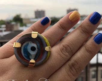 Multicolored ring evil eye adaptable murano glass ring evil eye for protection handmade gold plated gift idea for mother girlfriend grandma