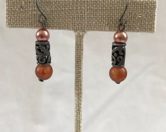 Vintage Drop Earrings, Dangle Earrings, Silver Tone,Pink, Orange Bead, Estate Jewelry