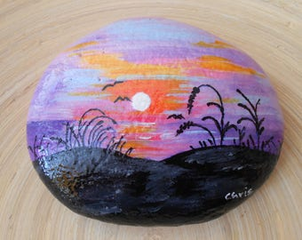 RESERVED for Valarie Hand Painted Stones,Home Decor,Painted Rock, Pebble,Acrylic, Sunset