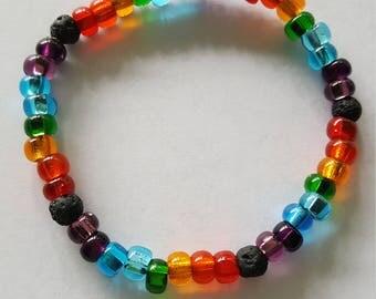Diffuser Bracelet, Rainbow Essential Oil Bracelet, Aromatherapy Bracelet, Stretchy Beaded Bracelet, LGBTQ Pride Bracelet, Aromatherapy Gift