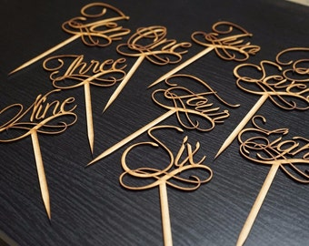 Wedding Table Numbers for Flower Arrangements & Seating Locations