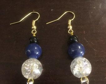 Colourful beaded drop earrings