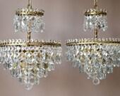 Superb Vintage Crystal PAIR OF CHANDELIERS Art Nouveau Lighting Home ChandeliersAntique French Vintage Crystal Chandelier  Lamp Lighting