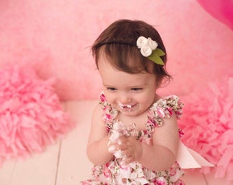 Mini Rosette Trio - Baby Headband - Baby Bows - Soft Bows - Photo Props - Headbands or Clip - Infant and Toddler - Newborn - Baby Girl