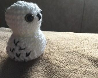 Handmade crochet white owl