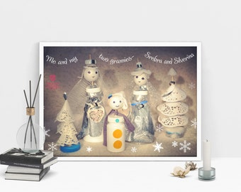 Dolls with hats print, family, granny, fairy, winter, artwork, color photography, fantasy, instant download