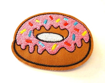 Donut Doughnut with Pink Icing with Sprinkles Iron on Patch - H198