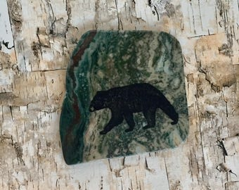 Natural Stone Coaster - Black Bear