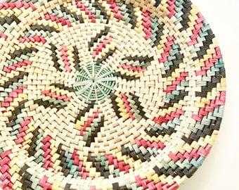 Large woven vintage wall basket/wall basket/woven basket/coil basket/vintage basket/wall baskets/mexican woven basket/bohemian decor/