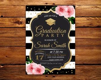 Graduation Party Invitation. Black & White Stripe.  Floral Graduation Party Invite. Pink Flowers. Black, White and Gold Grad Party.