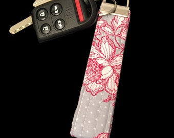 Grey With Pink Flowers Keychain Key Fob Lanyard