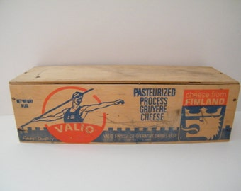 Cheese Box Lid from Finland Valio Vintage Rustic Wood Decor, Valio Finnish Co Operatives Dairy Association Helsinki Finland, Gruyere cheese