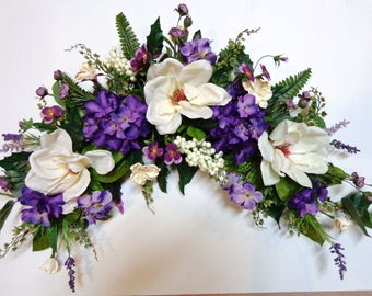 Grapevine Arch Swag-Silk Ivory Magnolia and Purple Hydrangea Flowers Swag-Wall-Door Decoration-Home Decoration-by Floramiagarden