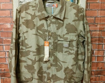 MEGASALE Camo Jacket Army Surf life Creation Russk Military Button Down Shirt Jacket M