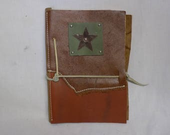 Leather Covered Journal with Green Square with Star