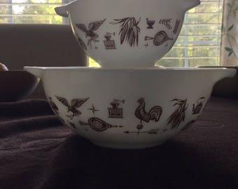 "Vintage Pyrex ""Early American"" Cinderella Mixing Bowls"