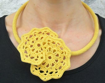 geometrical crocheted necklace, choker, spring and summer, lace, elegant, romantic jewelry, gift for her