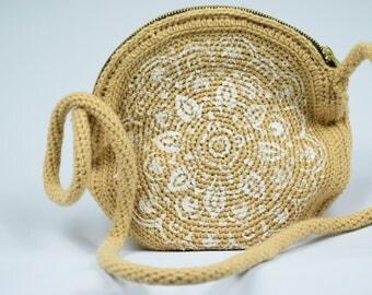 mandala crochet circul bag