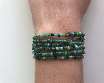 6 ocean colored beaded stretchy bracelets