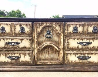 SOLD  Weathered Farmhouse Buffet, Dresser, Media Console, Entertainment Center, TV Stand