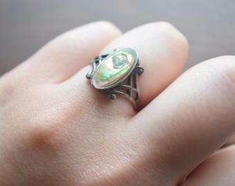 Antique Art Nouveau Blister Pearl Ring with Sterling Silver Lattice Ring Band