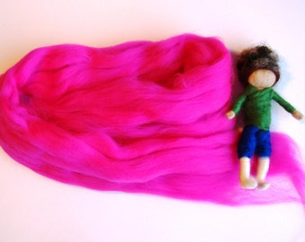 felting wool pink, pink merino wool, pink angel wool, needle felting wool, merino for spinning, super soft merino, fairy wool by jade shen