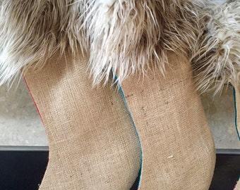 Faux Fur Llama Burlap Stocking