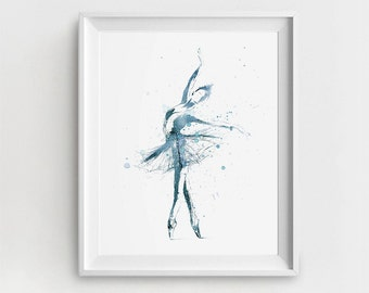 Ballerina Art Print, Digital Ballerina, Ballerina Printable, Blue Ballet Art, Watercolor Ballerina, DIY Wall Art, Large Wall Printable