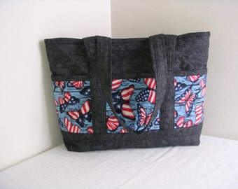 Red, White & Blue Butterflies Hand Made Quilted Tote Bag, Lrg