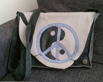"""Large handmade bag """"Peace & love, Yin yang"""" unique leather."""