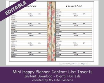 MINI Happy Planner Contact List Inserts, Editable Printable Happy Planner Inserts, MAMBI Mini Happy Planner Inserts, PDF Download