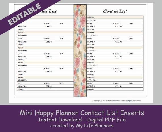MINI Happy Planner Contact List Inserts Editable Printable